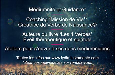 """Lydia Justamente Medium et Coach """"Mission de Vie"""" Créatrice du Verbe de Naissance"""
